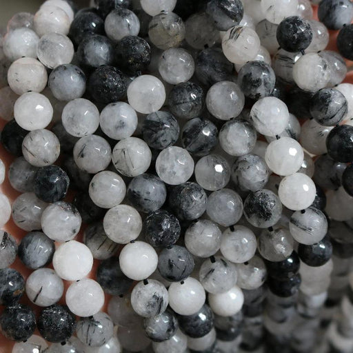black rutilated quartz, 10mm, round, faceted, 1 strand, 16 inches, approx. 40 beads.-Gemstone Beads-BeadsVenture