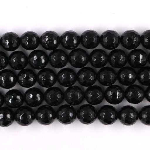 black tourmaline, 10mm, round, faceted, 1 strand, 16 inches, approx. 40 beads.-Gemstone Beads-BeadsVenture