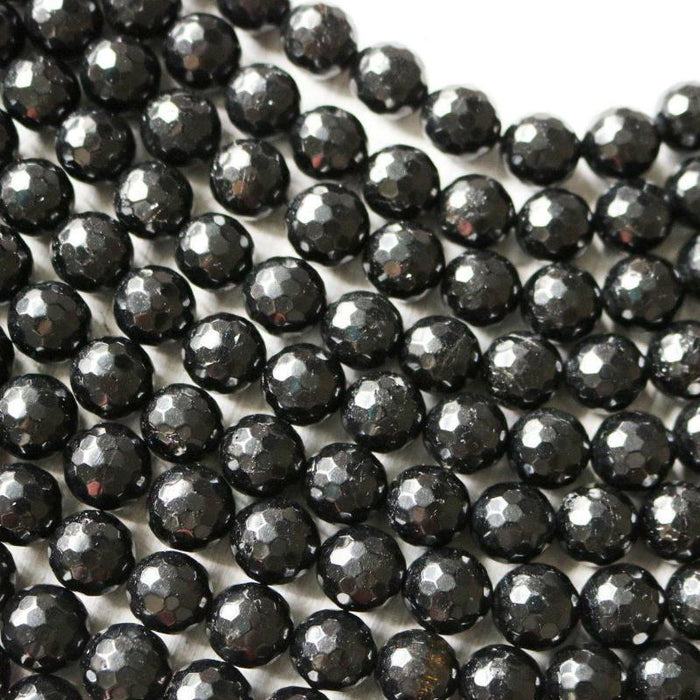 black tourmaline, 10mm, round, glossy, 1 strand, 16 inches, approx. 40 beads.-Gemstone Beads-BeadsVenture