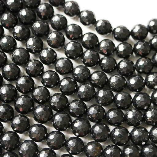 black tourmaline, 6mm, round, faceted, 1 strand, 16 inches, approx. 66 beads.-Gemstone Beads-BeadsVenture