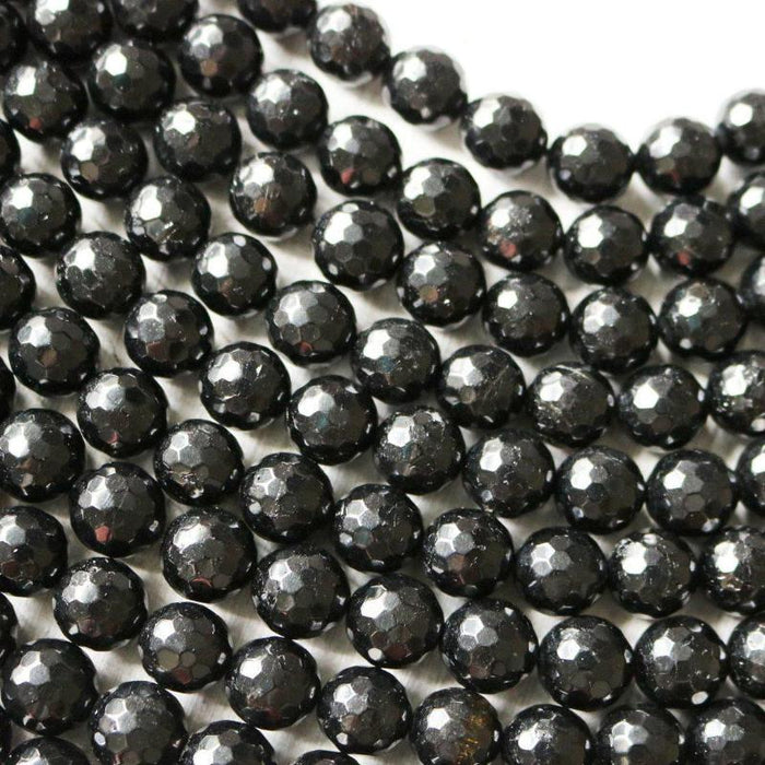 black tourmaline, 8mm, round, faceted, 1 strand, 16 inches, approx. 48 beads.-Gemstone Beads-BeadsVenture