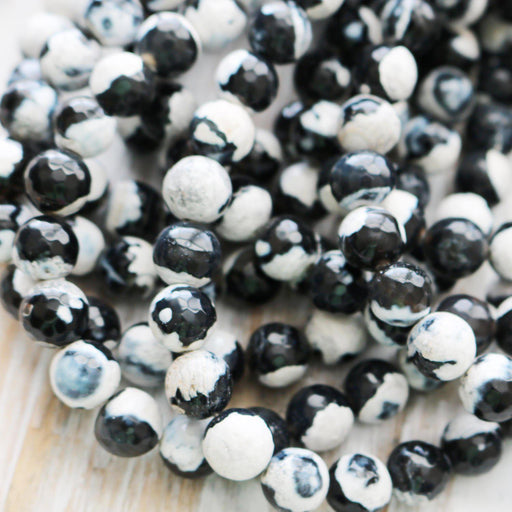 black white fire agate, 6mm, round, faceted, 1 strand, 16 inches, approx. 66 beads.-Gemstone Beads-BeadsVenture