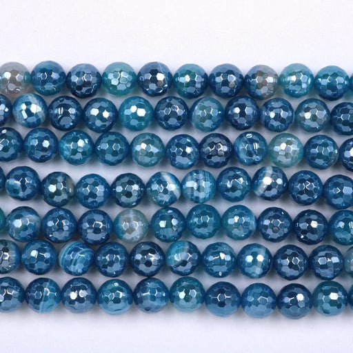 blue banded agate, 10mm, round, silver plated, faceted, 16 inch strand, approx. 38 beads-Gemstone Beads-BeadsVenture
