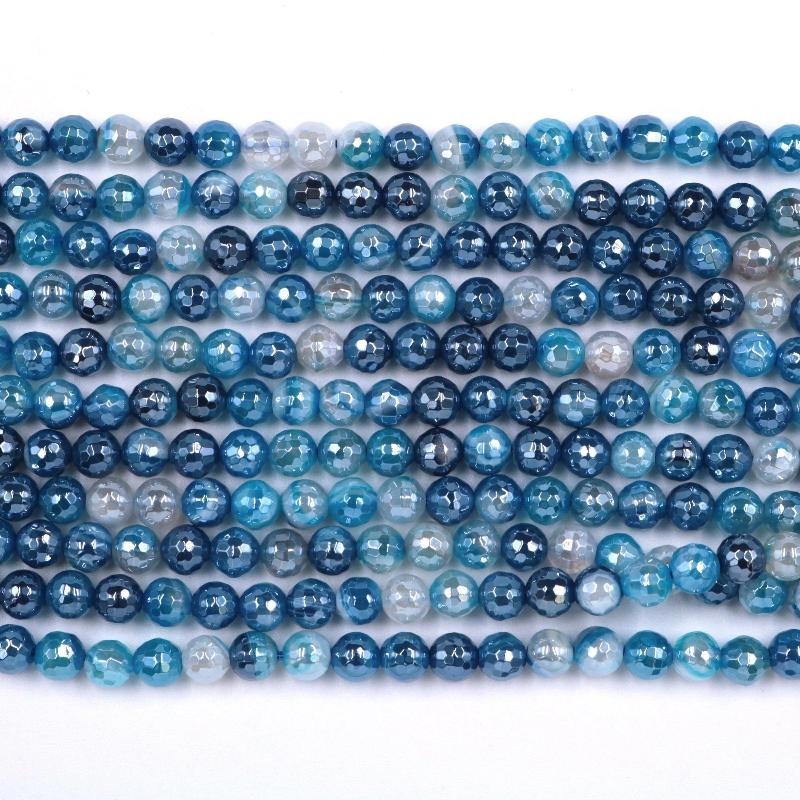 blue banded agate, 6mm, round, silver plated, faceted, 16 inch strand, approx. 66 beads-Gemstone Beads-BeadsVenture