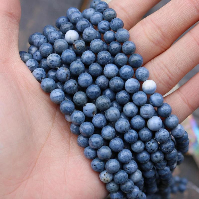 blue coral, 6mm, round, glossy, 1 strand, 16 inches, approx. 66 beads.-Gemstone Beads-BeadsVenture