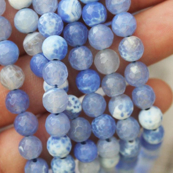blue fire agate, 6mm, round, faceted, 1 strand, 16 inches, approx. 66 beads.-Gemstone Beads-BeadsVenture