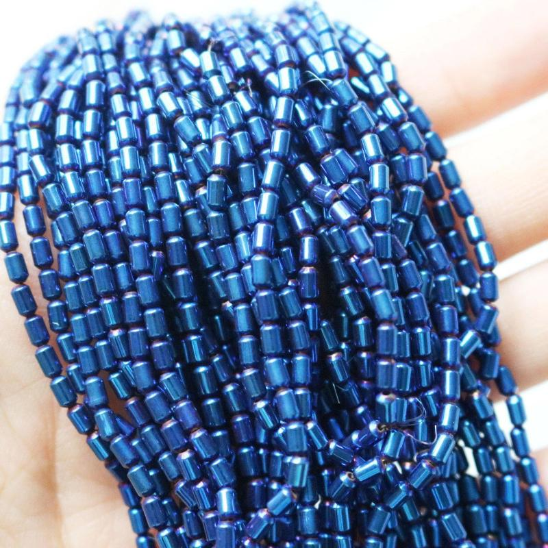 blue hematite beads, 4mm x 2mm, barrel, glossy, 1 strand, 16 inches, sold as approx. 100 beads-Gemstone Beads-BeadsVenture