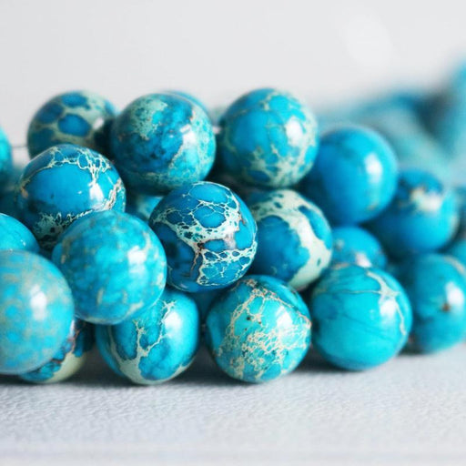 blue impression jasper, 12mm, round, glossy, 1 strand, 16 inches, approx. 32 beads.-Gemstone Beads-BeadsVenture