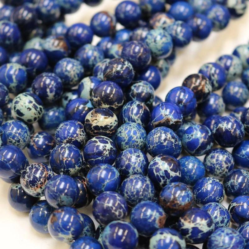 blue impression jasper, 4mm, round, glossy, 1 strand, 16 inches, approx. 96 beads.-Gemstone Beads-BeadsVenture