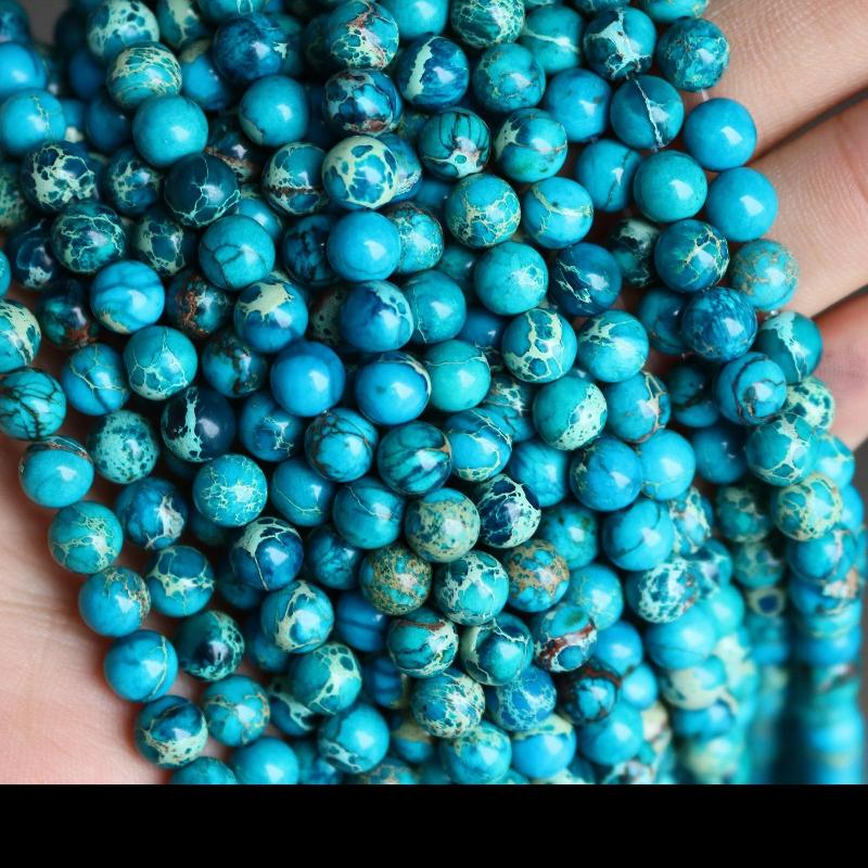 blue impression jasper, 6mm, round, glossy, 1 strand, 16 inches, approx. 66 beads.-Gemstone Beads-BeadsVenture