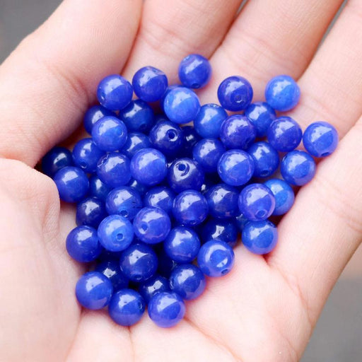 blue jade, 6mm, round, glossy, 1 bag, 16 inches, approx. 66 beads.-Gemstone Beads-BeadsVenture