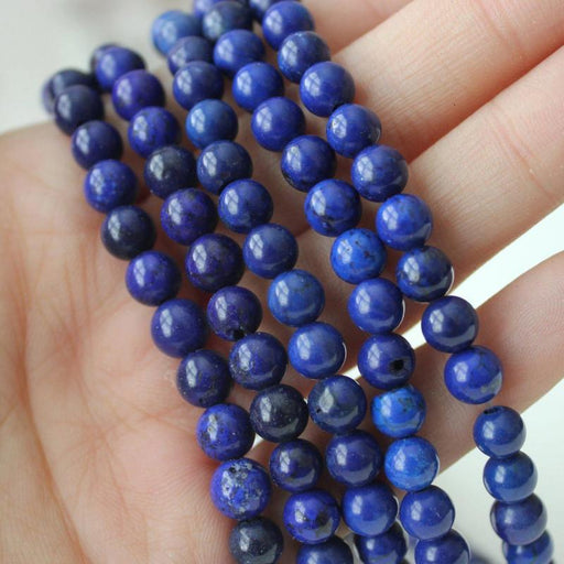 blue magnesite, 6mm, round, glossy, 1 strand, 16 inches, approx. 66 beads.-Gemstone Beads-BeadsVenture