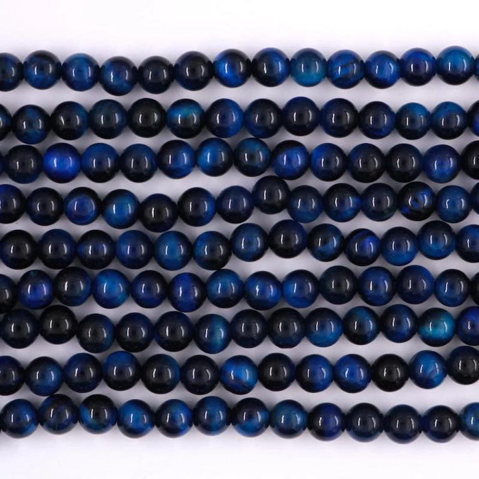 blue tiger eye, 6mm, round, glossy, 1 strand, 16 inches, approx. 66 beads.-Gemstone Beads-BeadsVenture