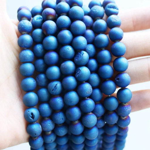 bright blue druzy agate, 8mm, round, matte, 1 strand, 16 inches, approx. 48 beads.-Gemstone Beads-BeadsVenture