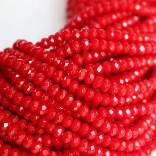 bright red jade, approx. 4mm x 2mm, rondelle, faceted, 1 strand, 16 inches, approx. 110 beads.-Gemstone Beads-BeadsVenture