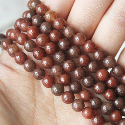 brown aventurine, 6mm, round, glossy, 1 strand, 16 inches, approx. 66 beads.-Gemstone Beads-BeadsVenture