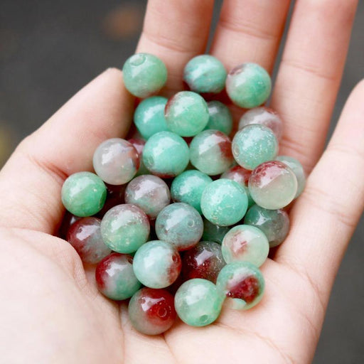 brown green jade, 10mm, round, glossy, 1 bag, 16 inches, approx. 40 beads.-Gemstone Beads-BeadsVenture