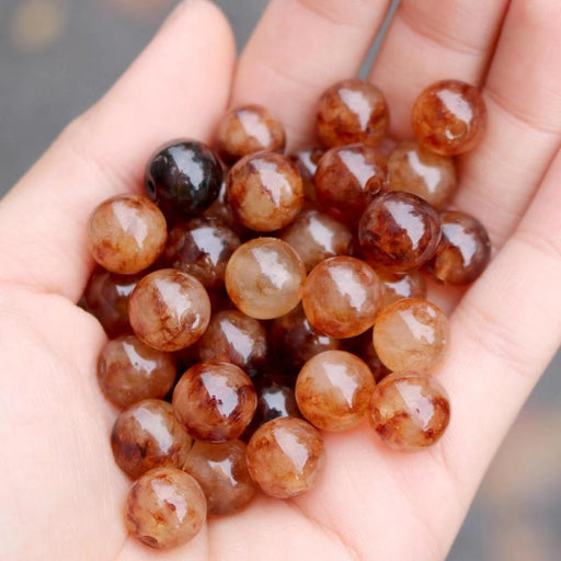 brown jade, 10mm, round, glossy, 1 bag, 16 inches, approx. 40 beads.-Gemstone Beads-BeadsVenture