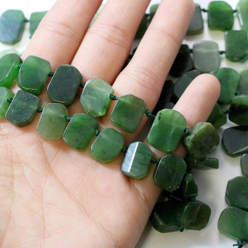 Canada jade, approx. 15mm × 12mm, slab, 1 strand, 16 inches, approx. 36 beads.-Gemstone Beads-BeadsVenture