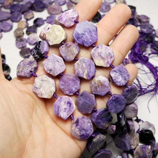 charoite, approx. 13mm × 15mm, slab, glossy, 1 strand, 16 inches, approx. 24 beads.-Gemstone Beads-BeadsVenture