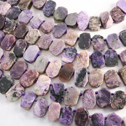 charoite, approx. 15mm × 10mm, slab, 1 strand, 16 inches, approx. 35 beads.-Gemstone Beads-BeadsVenture