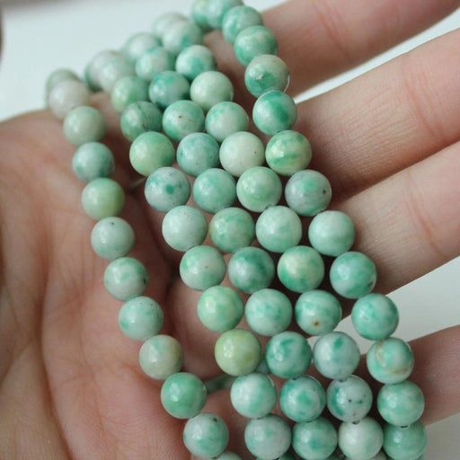 ching hai jade, 6mm, round, glossy, 1 strand, 16 inches, approx. 66 beads.-Gemstone Beads-BeadsVenture