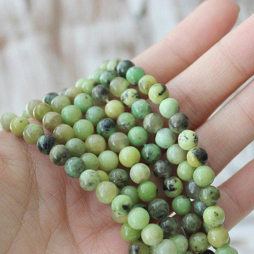 chrysoprase, 6mm, round, glossy, 1 strand, 16 inches, approx. 66 beads.-Gemstone Beads-BeadsVenture