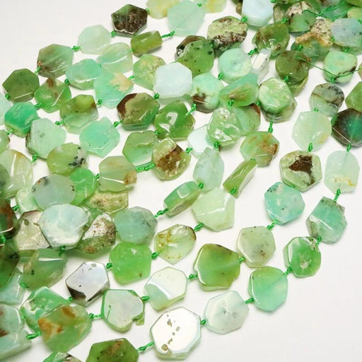 chrysoprase, approx. 13mm × 15mm, slab, glossy, green, 1 strand, approx. 25 beads.-Gemstone Beads-BeadsVenture
