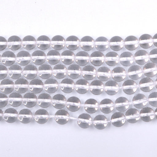 clear quartz, 8mm, round, glossy, 1 strand, 16 inches, approx. 48 beads.-Gemstone Beads-BeadsVenture