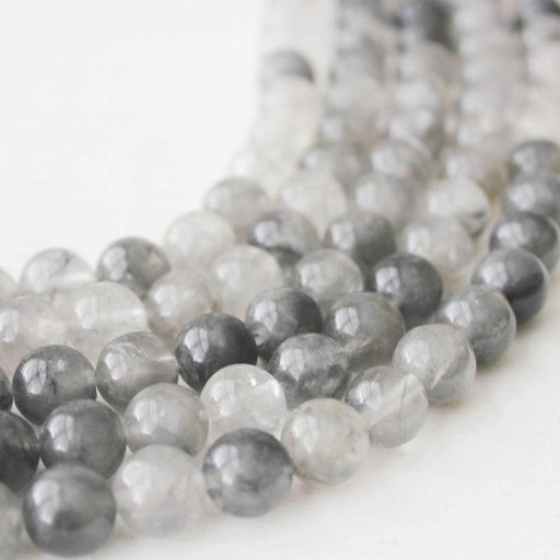 cloud quartz, 10mm, round, glossy, 1 strand, 16 inches, approx. 40 beads.-Gemstone Beads-BeadsVenture