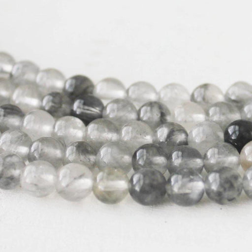 cloud quartz, 6mm, round, glossy, 1 strand, 16 inches, approx. 66 beads.-Gemstone Beads-BeadsVenture