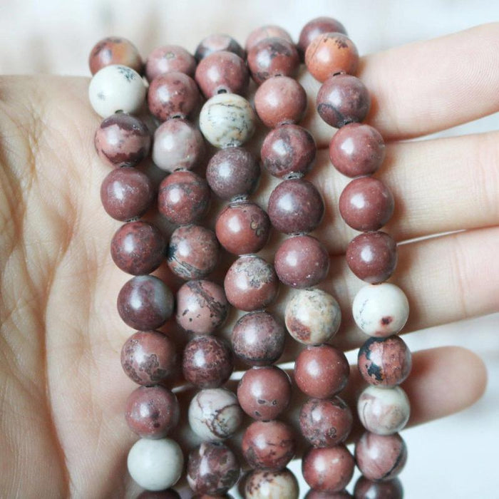 coffee bean jasper, 8mm, round, glossy, 1 strand, 16 inches, approx. 48 beads.-Gemstone Beads-BeadsVenture