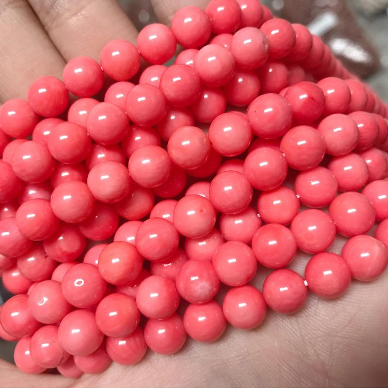 coral, 4mm, round, glossy, 1 strand, 16 inches, approx. 96 beads.-Gemstone Beads-BeadsVenture