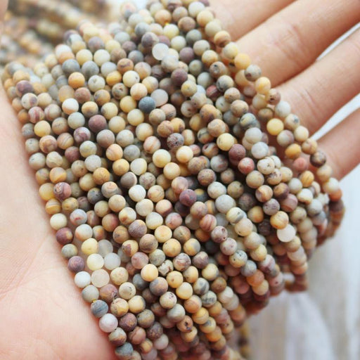 crazy lace agate, 4mm, round, matte, 1 strand, 16 inches, approx. 96 beads.-Gemstone Beads-BeadsVenture