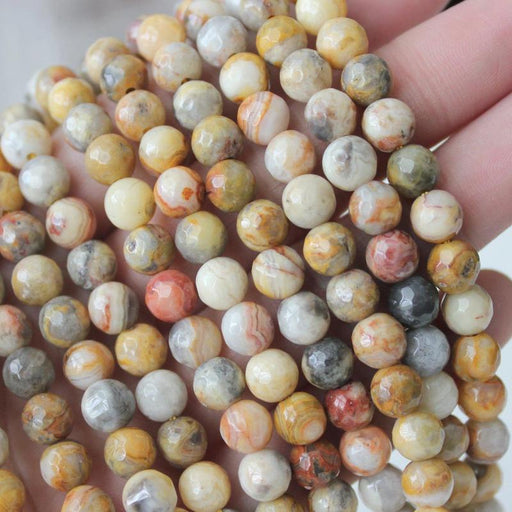 crazy lace agate, 6mm, round, faceted, 1 strand, 16 inches, approx. 66 beads.-Gemstone Beads-BeadsVenture