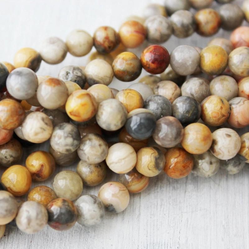 crazy lace agate, 6mm, round, glossy, 1 strand, 16 inches, approx. 66 beads.-Gemstone Beads-BeadsVenture