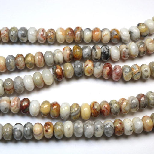 crazy lace agate, 6mm x 10mm, faceted, glossy, 1 strand, 16 inches, approx. 66 beads.-Gemstone Beads-BeadsVenture