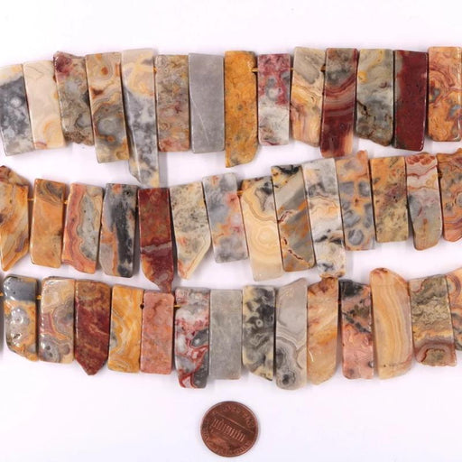 crazy lace agate, 6x12mm - 8x19mm, stick, 1 strand, 16 inches.-Gemstone Beads-BeadsVenture