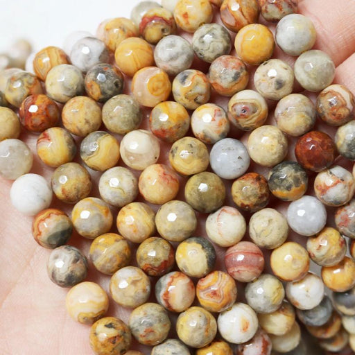 crazy lace agate, 8mm, round, faceted, 1 strand, 16 inches, approx. 48 beads.-Gemstone Beads-BeadsVenture