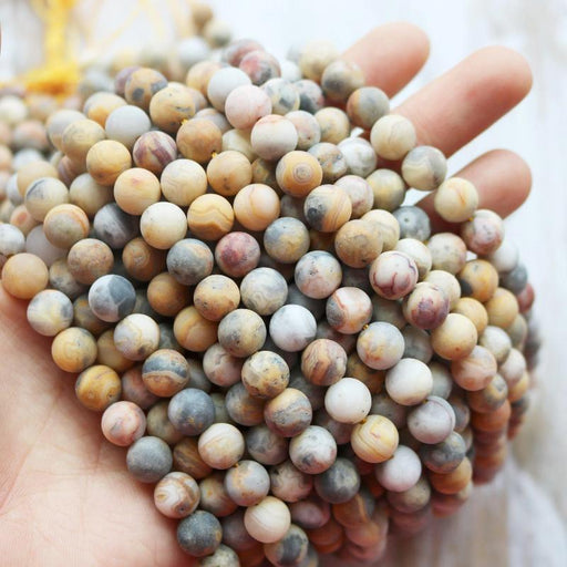 crazy lace agate, 8mm, round, matte, 1 strand, 16 inches, approx. 48 beads.-Gemstone Beads-BeadsVenture