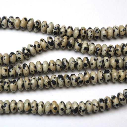 Dalmatian jasper, 4mm × 6mm, rondelle, glossy, 1 strand, 16 inches, approx. 100 beads.-Gemstone Beads-BeadsVenture