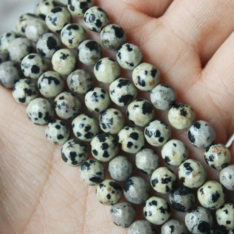 Dalmatian jasper, 6mm, round, faceted, 1 strand, 16 inches, approx. 66 beads.-Gemstone Beads-BeadsVenture