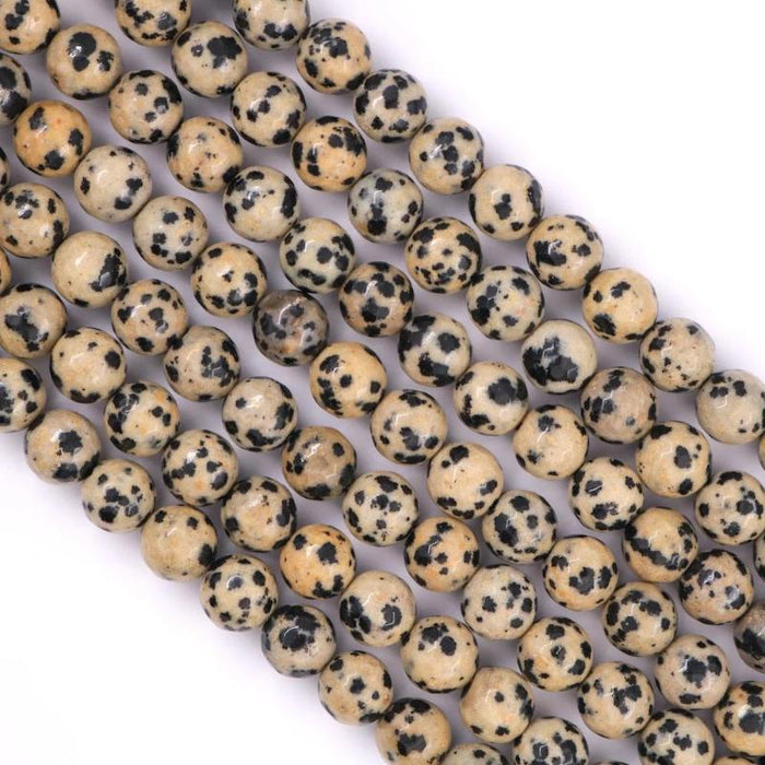 Dalmatian jasper, 8mm, round, faceted, 1 strand, 16 inches, approx. 48 beads.-Gemstone Beads-BeadsVenture