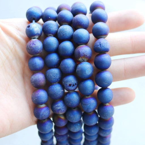 dark blue druzy agate, 10mm, round, matte, 1 strand, 16 inches, approx. 40 beads.-Gemstone Beads-BeadsVenture