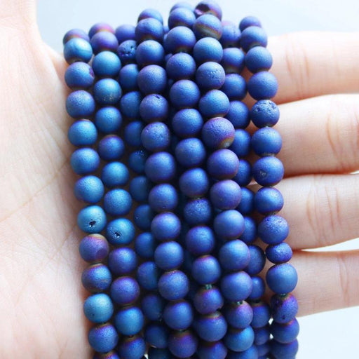 dark blue druzy agate, 6mm, round, matte, 1 strand, 16 inches, approx. 66 beads.-Gemstone Beads-BeadsVenture
