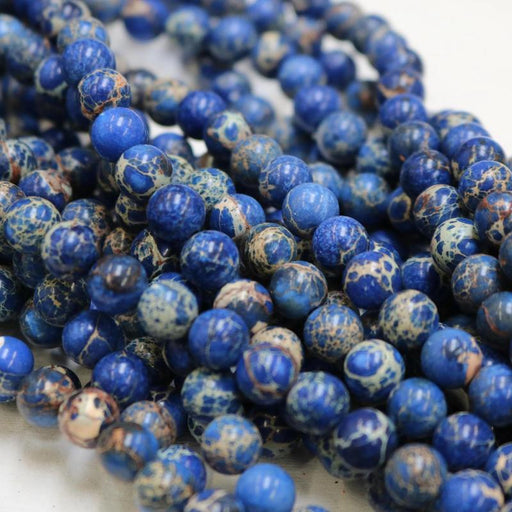 dark blue impression jasper, 10mm, round, glossy, 1 strand, 16 inches, approx. 40 beads.-Gemstone Beads-BeadsVenture