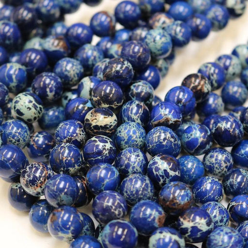 dark blue impression jasper, 12mm, round, glossy, 1 strand, 16 inches, approx. 32 beads.-Gemstone Beads-BeadsVenture