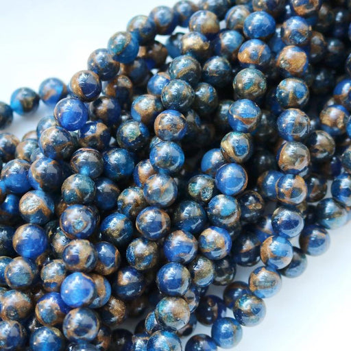 dark blue resin sponge quartz, 4mm, round, glossy, blue, sold as 1 strand, approx. 96 beads.-Gemstone Beads-BeadsVenture