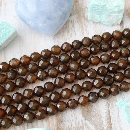 dark brown agate, 12mm, round, faceted, brown, sold as 1 strand, approx. 34 beads.-Gemstone Beads-BeadsVenture