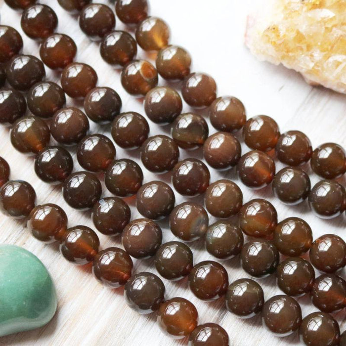 dark brown agate, 12mm, round, glossy, brown, sold as 1 strand, approx. 34 beads.-Gemstone Beads-BeadsVenture